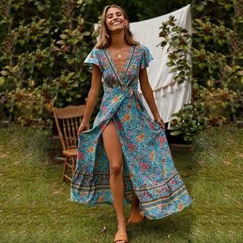 Summer Women beach dress Swimsuit Bikini Cover Up Sexy Print Bohemia Split Long Dress pareo beach wear Bathing Suit tunic kaftan beach hawaii print cover up slip dress