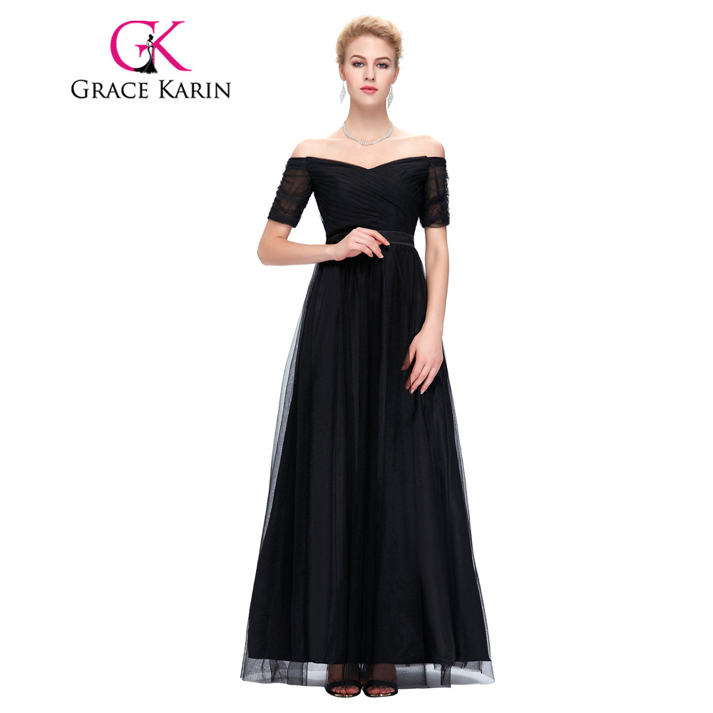 buy grace karin evening dresses long 2017 short sleeve black red robe de soiree. Black Bedroom Furniture Sets. Home Design Ideas