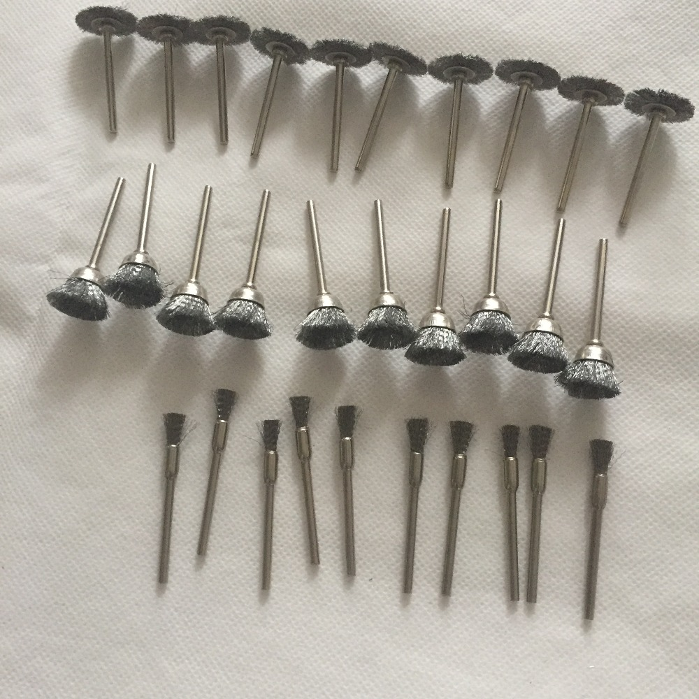 30pcs Steel Wire Wheel Brush Dremel Tools Accessories Rotary Tool For Mini Drill Tools Electric Burr Abrasive Head Set Deburring
