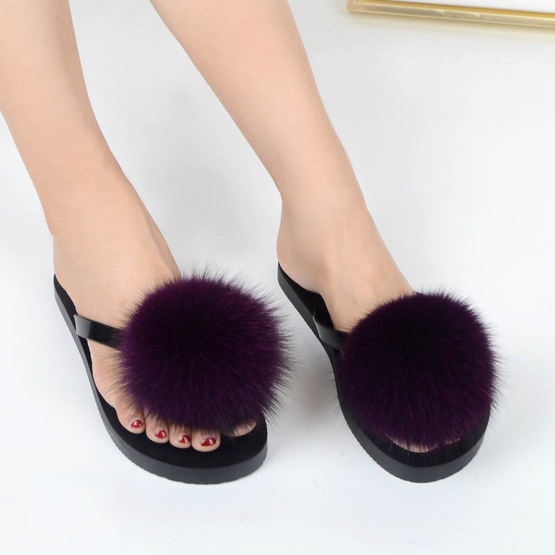 women slippers fox fur pompom (15)