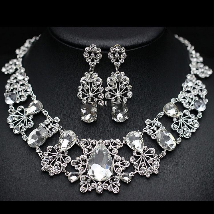 Luxuoso Grande Conjuntos de Jóias De Casamento De Cristal Imitado Gemstone incluindo Colares Brincos Tiara De Prata e Vermelho