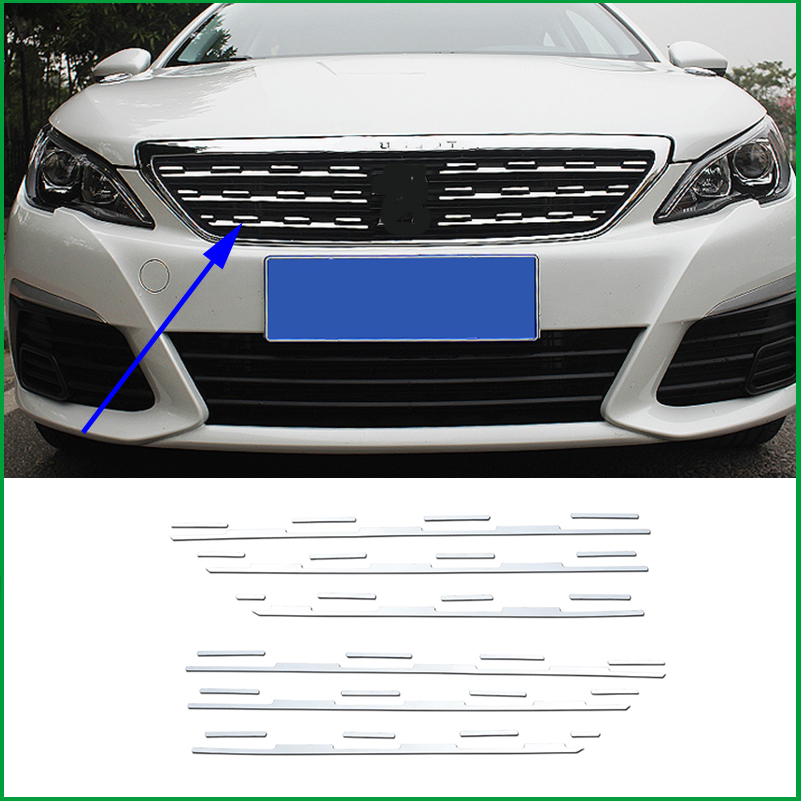 For Peugeot 308 T9 2016 2017 2018 Stainless Steel Front Grille Grill Rack Decorative Cover Sticker