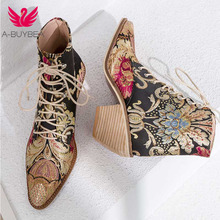 Women Casual Stacked High Heels Embroidery Flower Lace Up An
