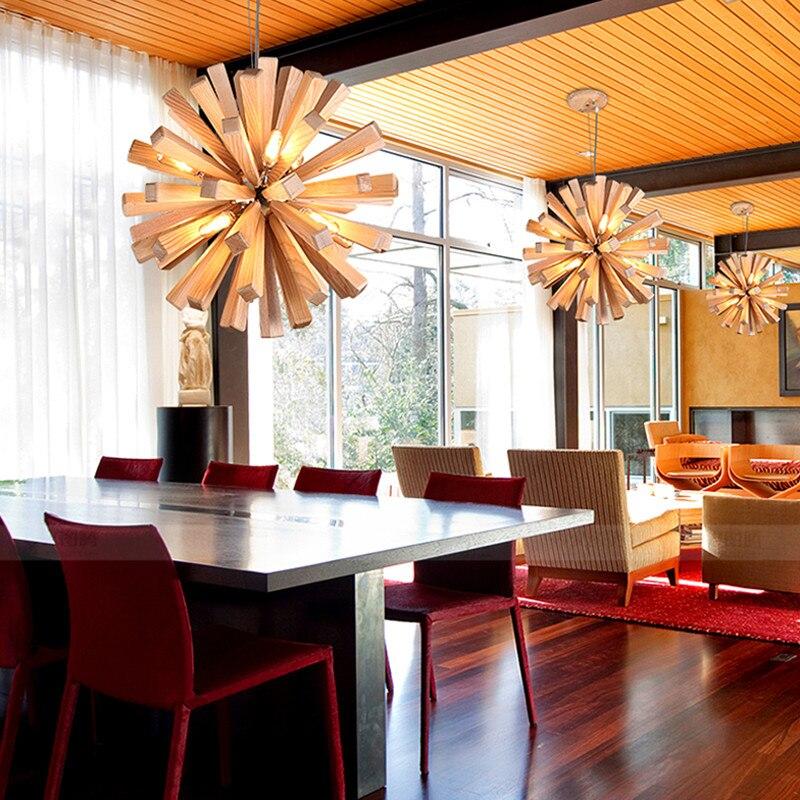 Dandelion Wooden Pendant Lights Hanging Solid Wood Lamps Dinning Room Restaurant Fixtures Indoor Decoration Pendant Lamp