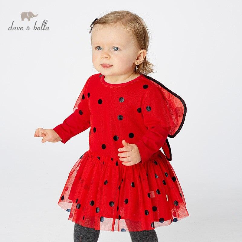 DB11733 dave bella automne bébé fille princesse mignon points papillon robe enfants mode fête robe enfants infantile lolita vêtements