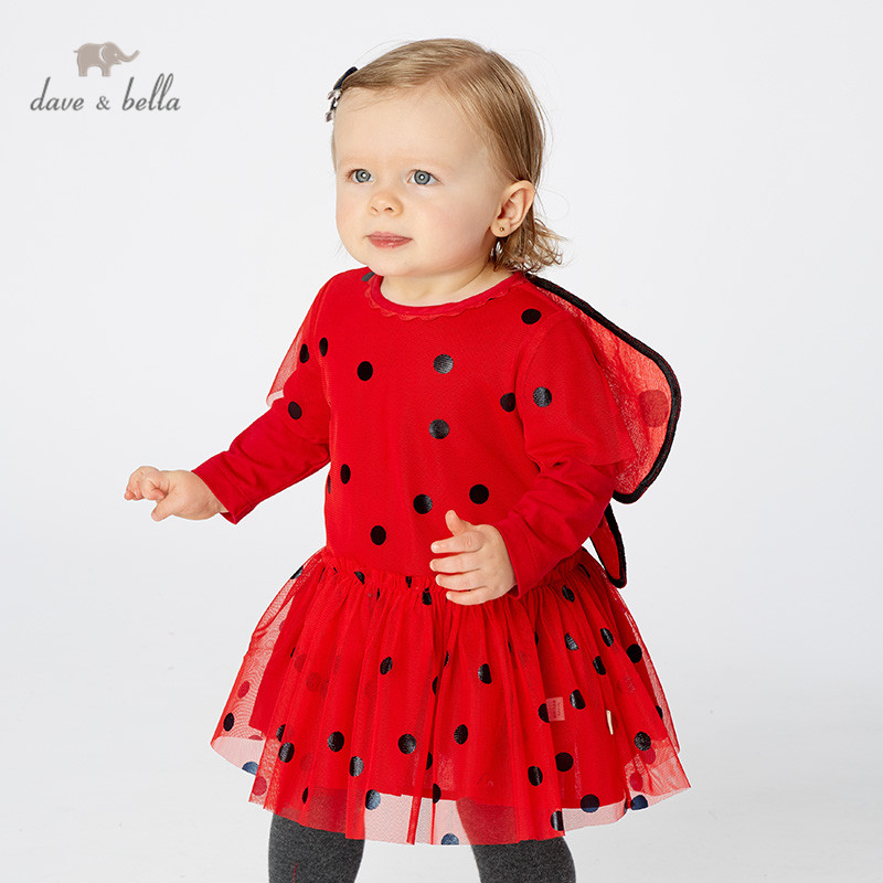 DB11733 dave bella autumn baby girl's princess cute dots butterfly dress children fashion party dress kids infant lolita clothes-in Dresses from Mother & Kids    1