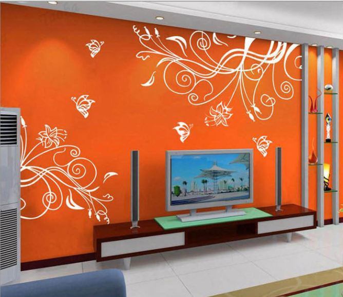 Big Flowers Wine Butterflies Colorful Wall Stickers