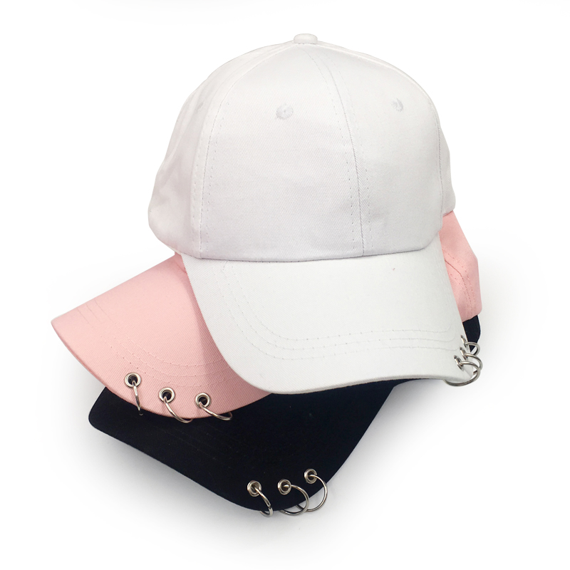 Baseball     Cap   with Rings Bboy Adjustable Casual Snapback Sport Hip-Hop Ball Hat   Baseball     Caps   Unisex Hats Black Pink White