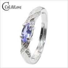 Tanzanita anillo de plata de la manera 3mm * 6mm natural VS tanzanite anillo para la muchacha sólida 925 tanzanite anillo de compromiso de plata para señora