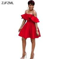 ZJFZML Slash Neck Short Sleeve Ruffles A Line Dress Women Sexy Off The Shoulder Evening Pary Dresses Summer Open Back Short Robe