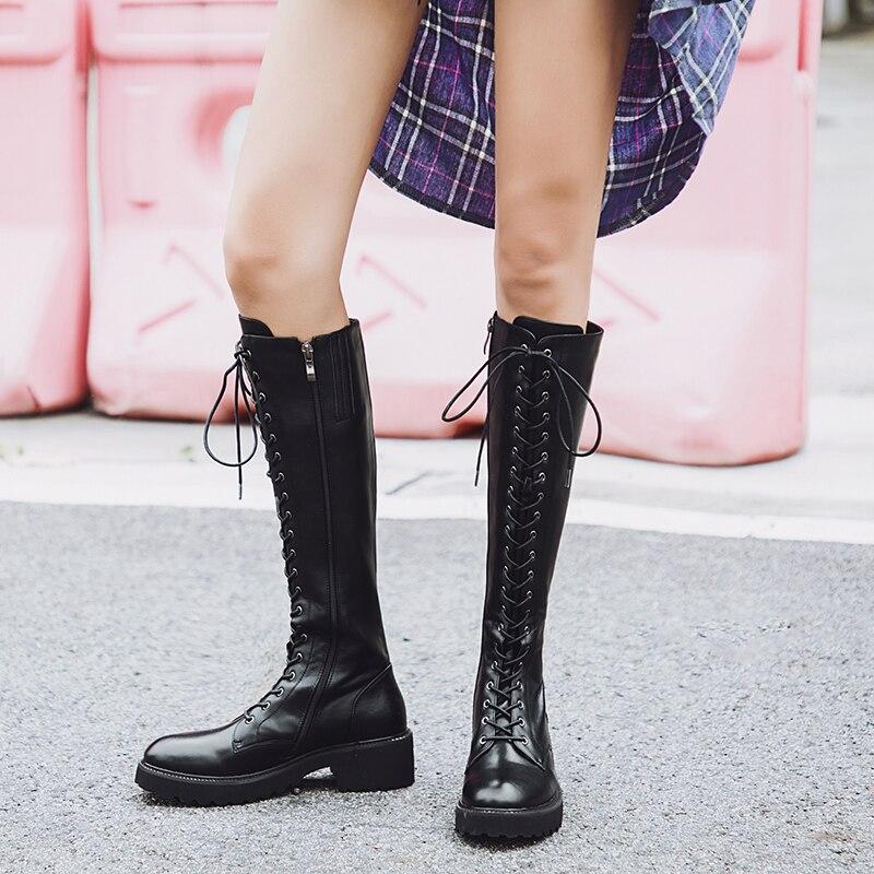 Prova Perfetto grande taille 43 bottes à lacets au genou femmes en cuir véritable mode blanc talon carré en caoutchouc Botas femme chaussures-in Bottes hautes from Chaussures    3