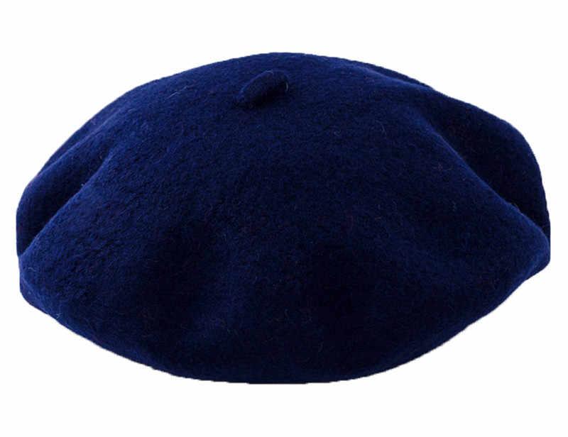 DOUBCHOW для мальчиков и девочек исполнитель французский Береты Шапки 2018 Детская шерстяная одежда одноцветное Цвет белый темно-зимняя шапочка Кепки Baret плоским шляпа