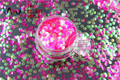 TCR53  Fantasy Iridescent  Rose-Carmine with Green Light color Round Dot 3.0MM Size glitter for nail Art or other DIY decoration