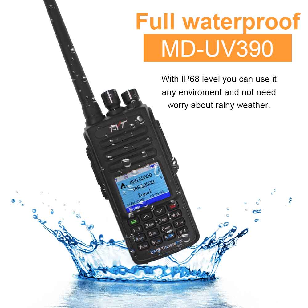 TYT MD-UV390 DMR Radio Station 5W 136-174MHz & 400-480MHz Walkie Talkie MD-390 IP67 Waterproof Dual Time Dlot Digital Radio