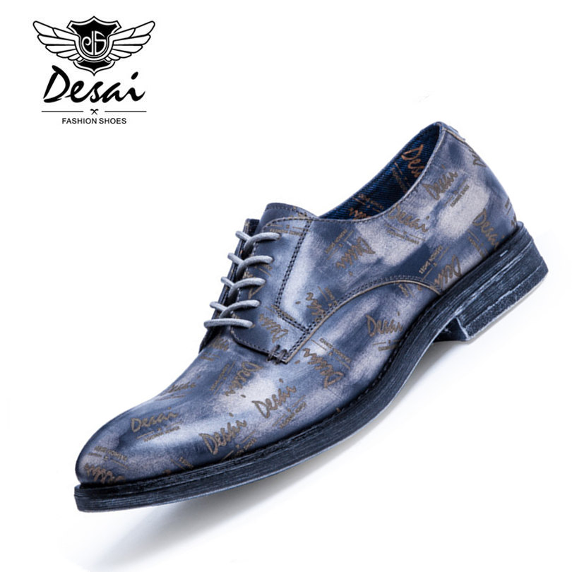 DESAI Brand High Grade Cow Leather Men Oxfords British Style Low Top Men Leather Shoes Blue Red Gray Size 38-43 original vans black and blue gray and red color low top men s skateboarding shoes sport shoes sneakers