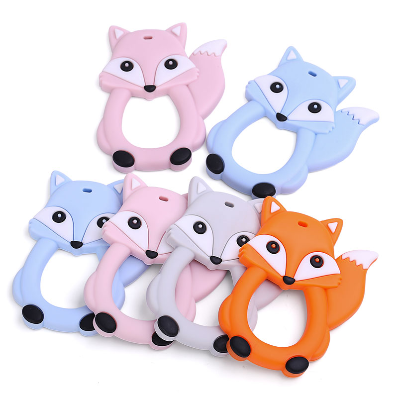 New 20 PCS Animal Fox Baby Silicone Teether BPA Free Baby Teething Toy Food Grade Silicone