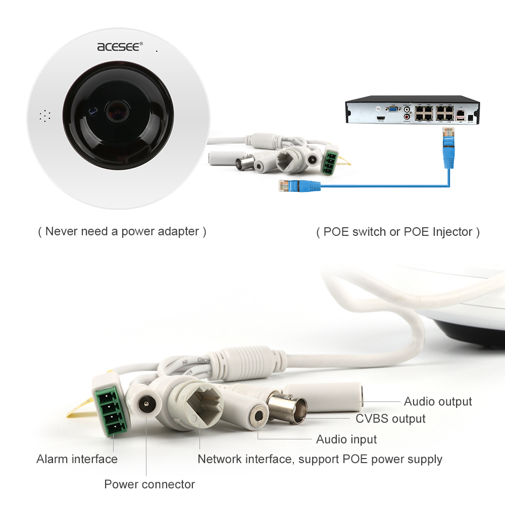 Acesee 4mp 360 Camera Fisheye Vr Panoramic 2048p Video Surveillance Degree Block Diagram Pictures Security Cameras Wireless Camara Ip Wi Fi Cam In