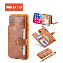Suntaiho Case For iPhone X XS Max case 7 plus case Retro PU Leather Flip Wallet Photo Holder Back Cover for iPhone XR 6s 7 8Plus