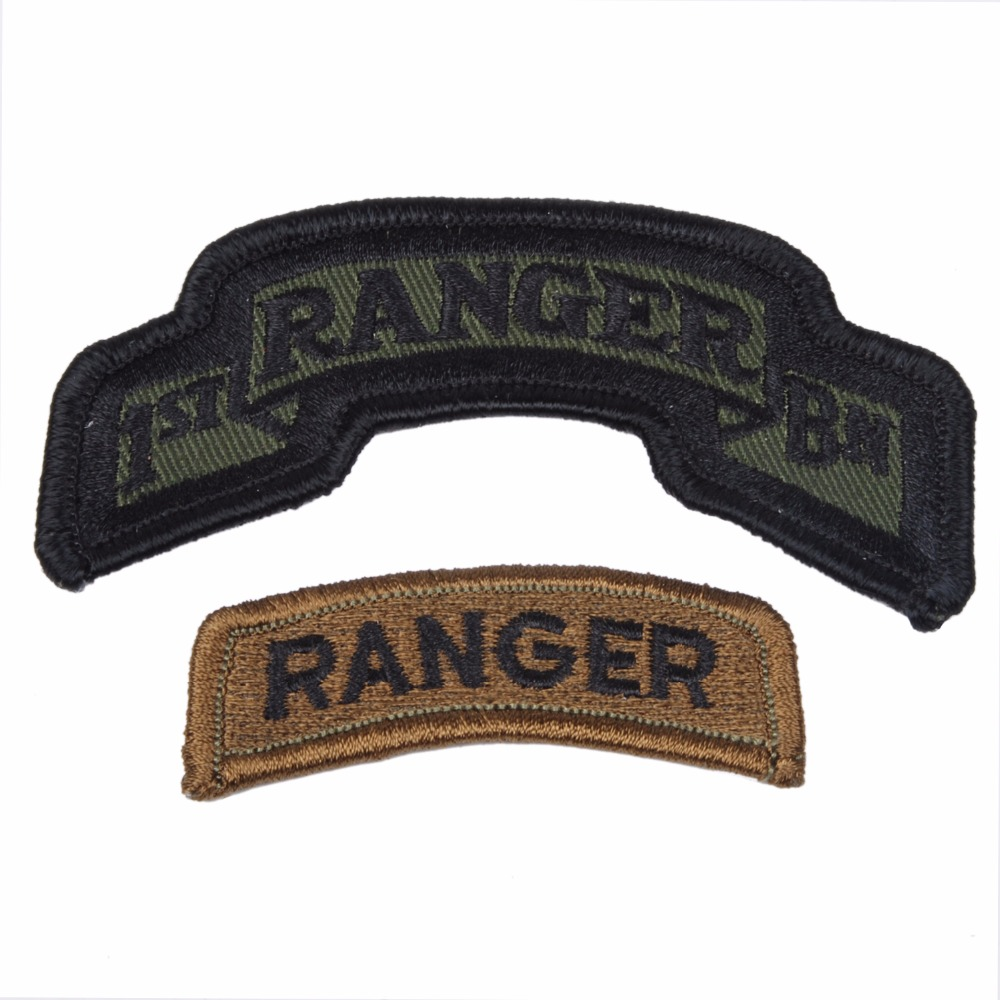 US ARMY 1ST BN RANGER TABS - 2 PIECES ACU PATCH GREEN OD COLOUR