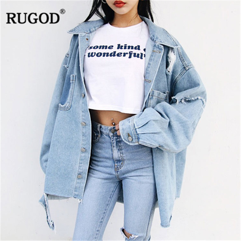 RUGOD Korean loose jean jacket for women Fashion ripped long sleeve oversized denim streetwear boyfriend clothing 2019 new
