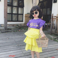 Girls Clothing Sets 2018 Summer Girl Set Letter Print Ruffled Sleeve Baby Cake Dress + Shirts 2 Piece Set Candy Color
