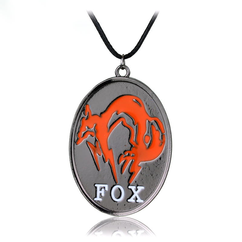 Gear Solid V The Phantom Pain FOX Symbol Mark Necklace Orange Enamel Ellipse Shape Pendant Letter Accessories