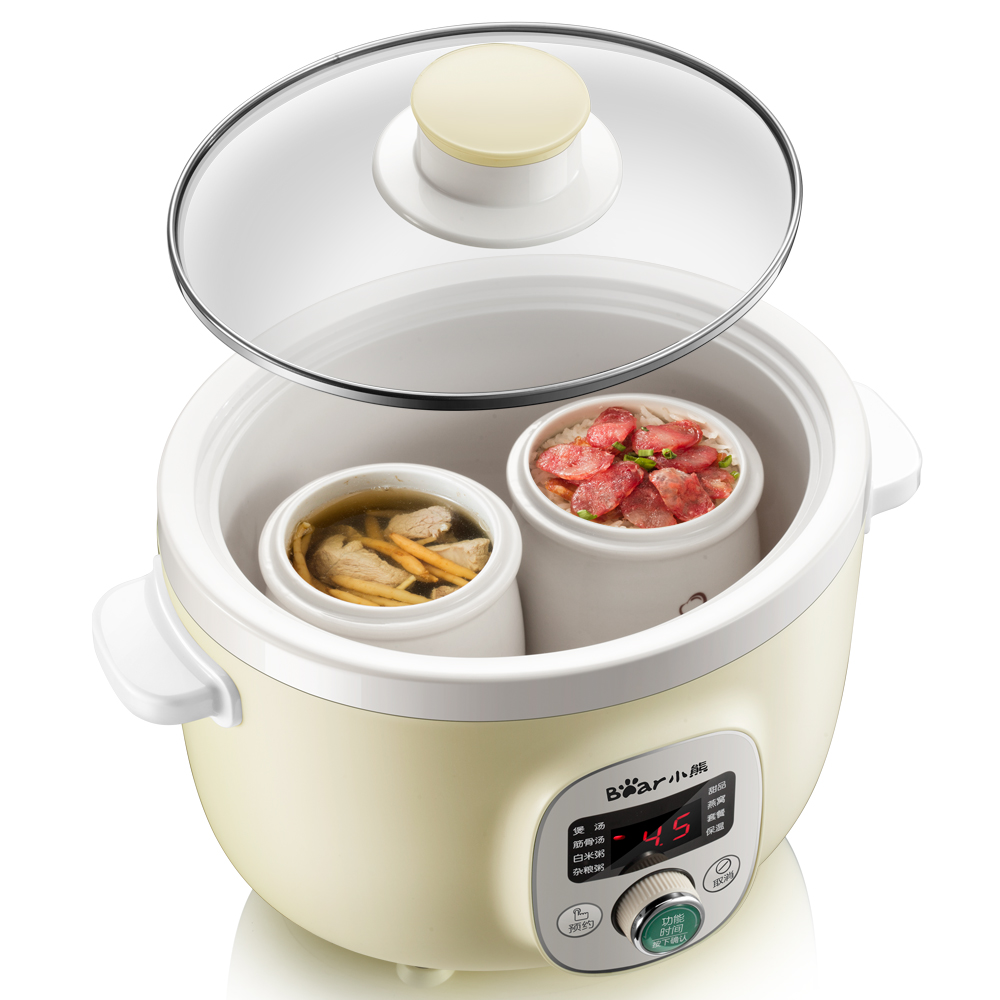 220V Household Full-automatic Electric Stewing Pot With Steamer High Quality Bear Brand Porridge Soup Stewing Machine EU/AU/UK 220v household electric slow stewing pot machine baby porridge food maker automatic ceramic inner stewing cooker eu au uk