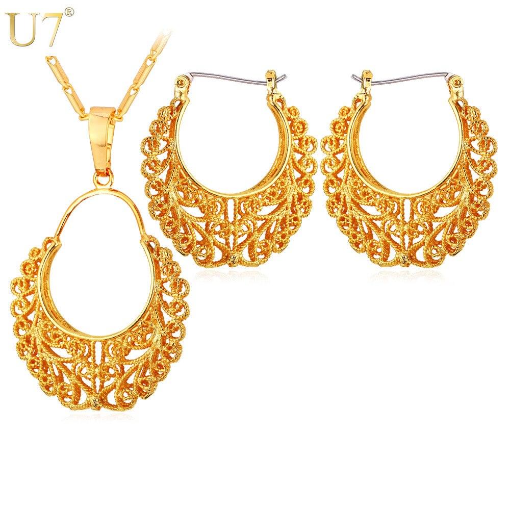 U7 Brand Vintage Hoop Earrings And Pendant Necklace Set