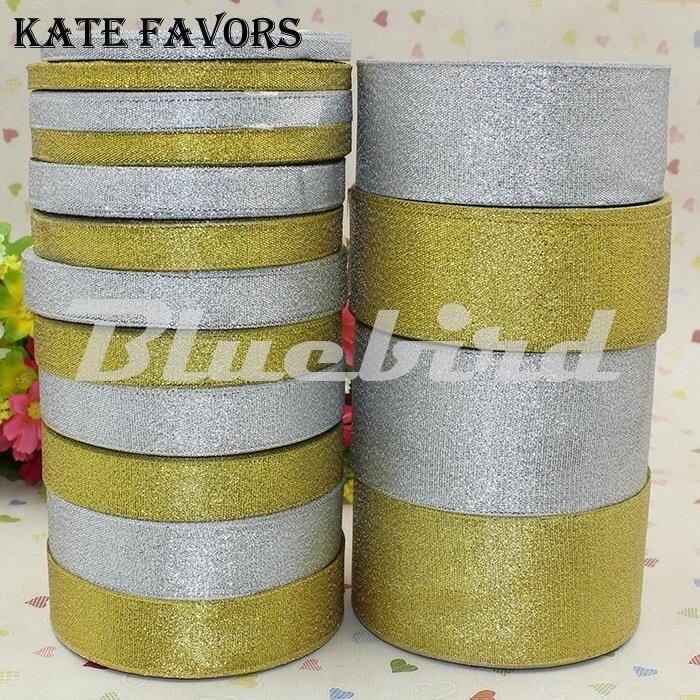 25 ярдов золотой лук лента для подарочной упаковки, золотой и серебряный блеск лента 6 мм, мм 10 мм, 12 мм, 15 мм, мм 20 мм, мм 25 мм, 40 мм, 50 мм