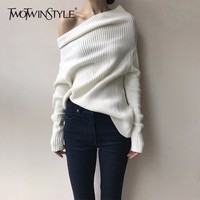TWOTWINSTYLE Off Shoulder Sweater Female Slash Neck Batwing Sleeve Knitting Pullover Jumpers Women 2018 Spring Fashion Clothing