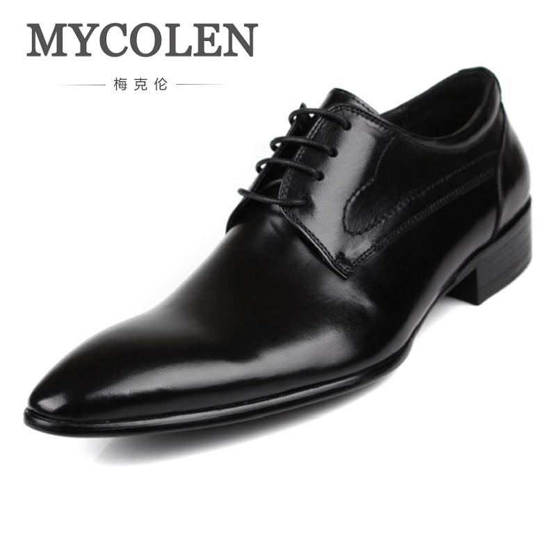 MYCOLEN Genuine Leather Men Brogues Shoes Lace-Up Bullock Business Comfortable Dress Men Oxfords Shoes Male Wedding Shoes patent leather men s business pointed toe shoes men oxfords lace up men wedding shoes dress shoe plus size 47 48