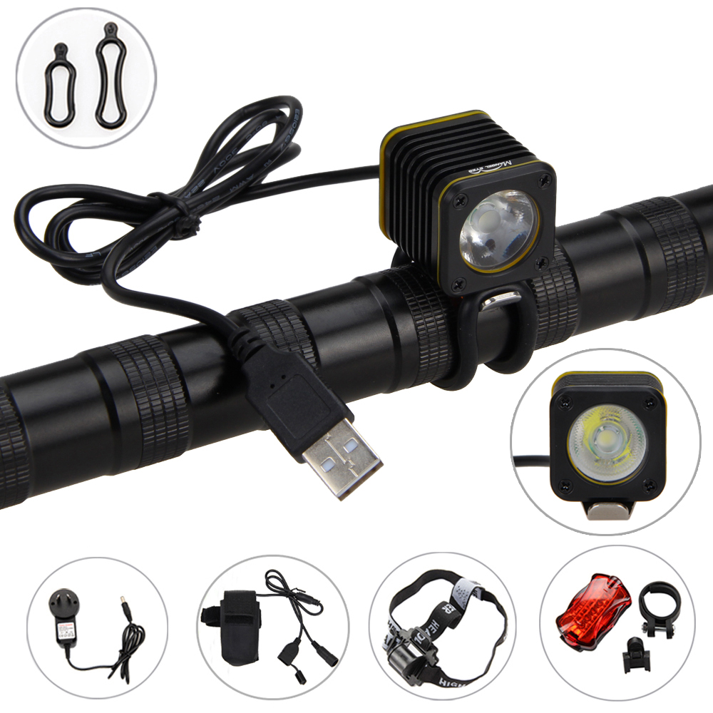 Waterproof Mini USB Bicycle Light Torch 5000lm 3 Modes XM-L T6 LED Bike Head Lamp Cycling Headlamp+Rear Light+Battery 3800 lumens cree xm l t6 5 modes led tactical flashlight torch waterproof lamp torch hunting flash light lantern for camping z93