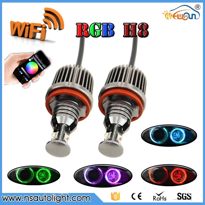 Controlled By WIFI Led Marker Angel Eyes Color Change RGBW H8 led marker For BMW E90 E92 M3 E60 E70 X5 E71 X6 E82 change translated by howard goldblatt