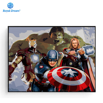 Плакат Мстителей Ручная роспись холст картины для гостиной Цифровая живопись маслом по номерам на холсте >> ROYALDREAM Official Store