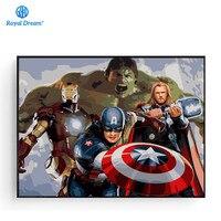 Avengers posteri el boyalı tuval resimleri için oturma odası dijital yağlıboya resim By Numbers tuval üzerine