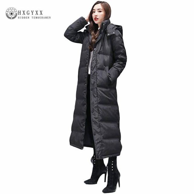 Slim Black Goose Feather Coat Long Winter Puffer Jacket Women Duck Down  Parka Thick Warm Hooded Outerwear 2018 Plus Size Okd386 a1b53624ff34