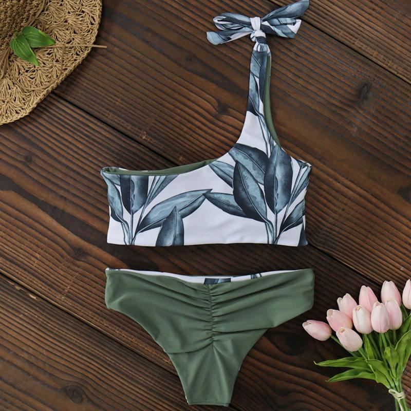 New One Shoulder Leaves Print Bikini 8