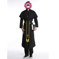 Sexy Black classic Priest Costumes with Cross necklace Adult Churchman missionary Costumes Rason Father party Halloween clothes
