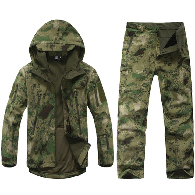 TAD V4.0 Gear Camouflage Shark Outdoor Waterproof Hiking Jacket Suit Men Army Hunting Set Military Hoody Softshell Jacket+ Pants