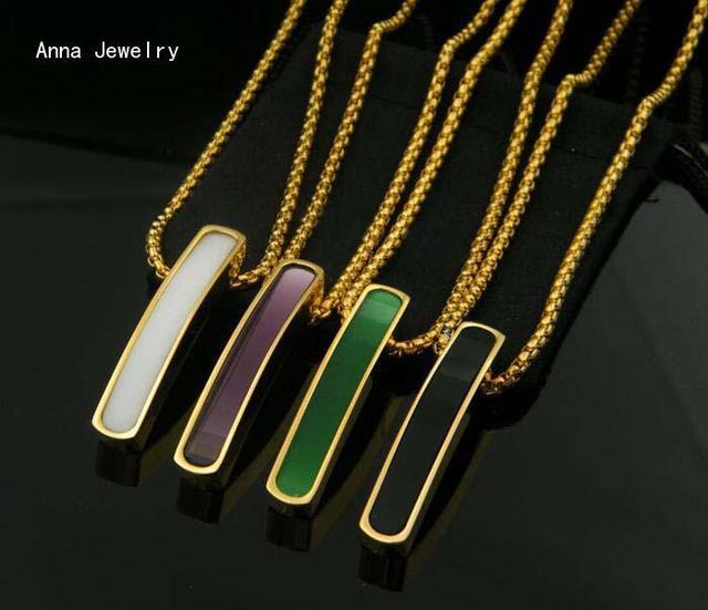 Minimalismo Mulheres Designer Padrão Retângulo Tag Colar Pingente, de Aço Inoxidável com o Colorido Ônix, Mulheres Na Moda Colar Etiquetas