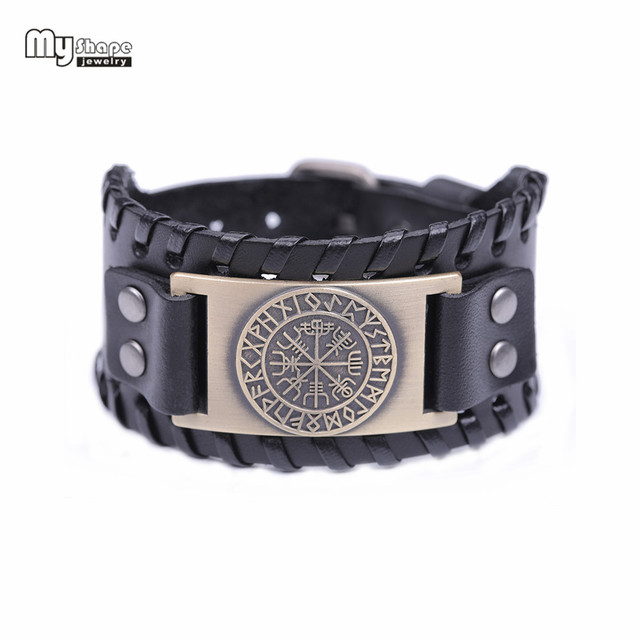 My Shape Viking Vegvisir Compass Bangles Nordic Runes Odin Symbol Wrap Genuine Leather Men Jewelry Accessories 3