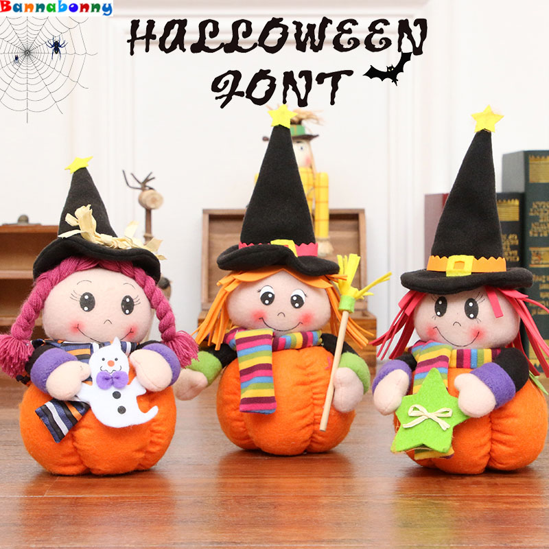 28CM Halloween Decoration Cute Pumpkin Cap Doll Girl Witch Creative Plush Toy Ornaments Halloween Decoration