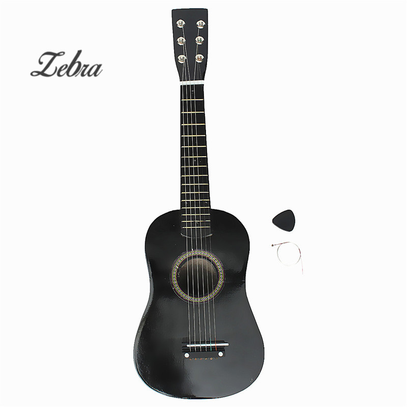 New Black Wooden Basswood plywood panels Professional Guitar Acoustic Instrument Kids Music+Guitar pick+Wire strings