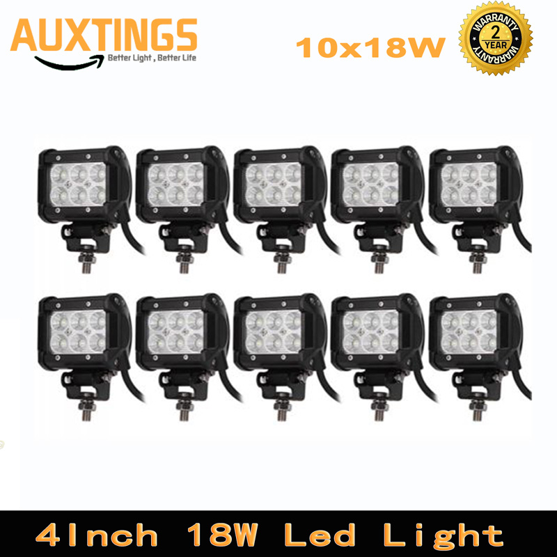 10PCS FREE SHIPPING 4inch 18w led light bar spot flood offroad led work light 12 volt