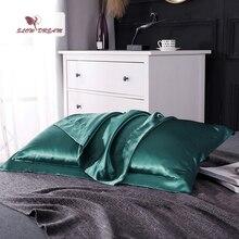 цена SlowDream Pillow Cover Bedding Pillowcase 100% Natural Silk Luxury Healthy Solid Color Green Pillowcase онлайн в 2017 году