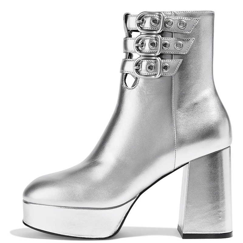 silver_metallic_platform_boots_tri_buckles_chunky_heel_ankle_boots_3_