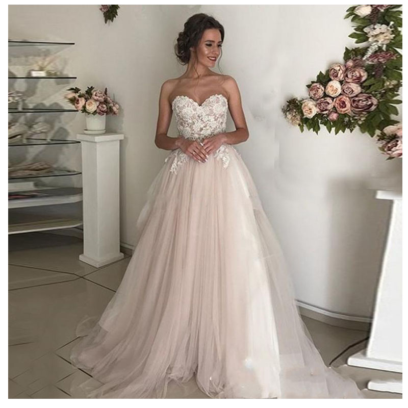 LORIE Beach Wedding Dress Lace Sweetheart A-Line Appliques Tulle Long Princess Bridal Dress 2019 Light Pink Wedding Gown