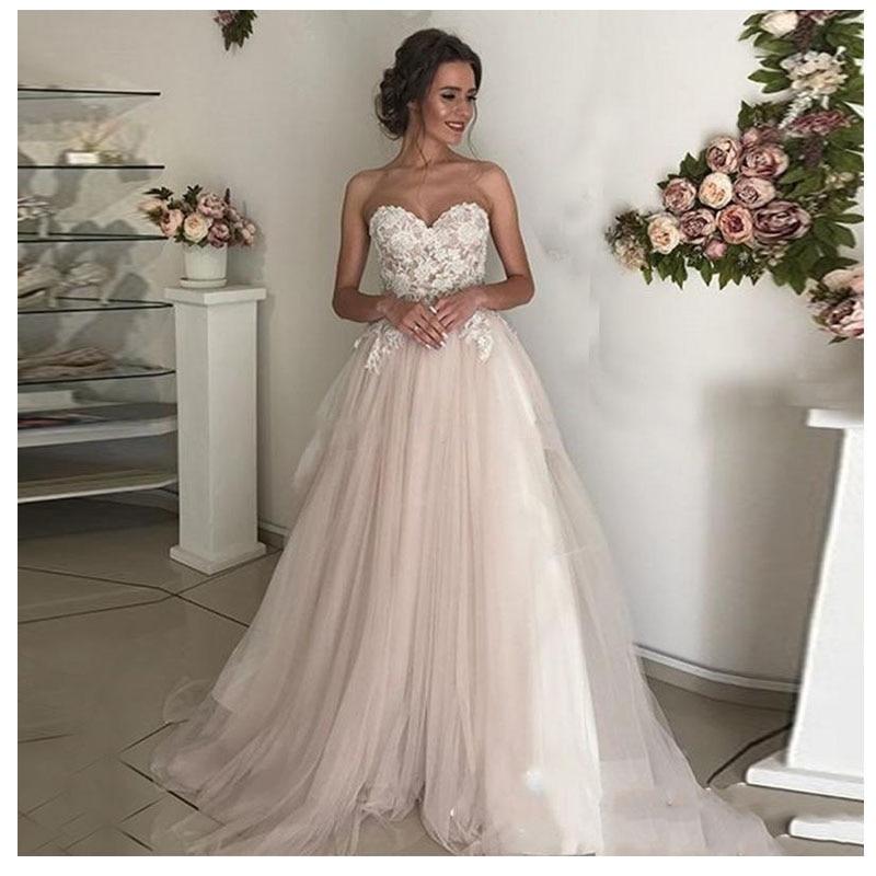 LORIE Beach Wedding Dress Lace Sweetheart A-Line Appliques Tulle Long Princess Bridal Dress 2019 Light Pink Wedding Gown