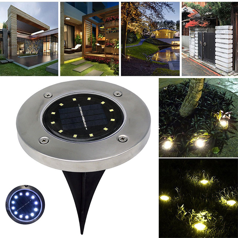 Solar Power 12LED Buried Light Under Ground Lamp Outdoor Path Way Garden Decking