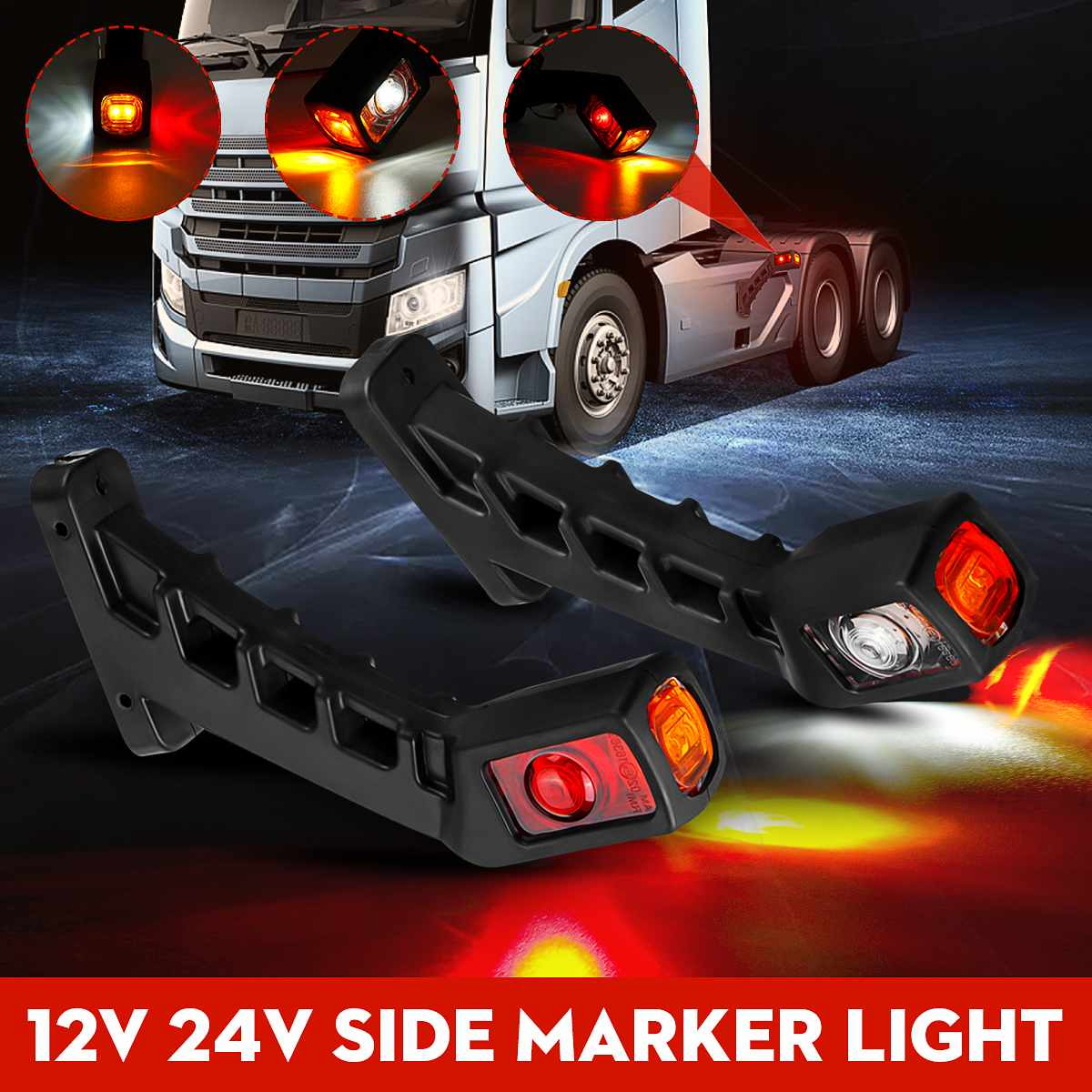 Pair Universal 12V 24V Car Truck LED Double Side Marker Light Waterproof Dual Indicator Lamp For Trailer Lorry Caravan